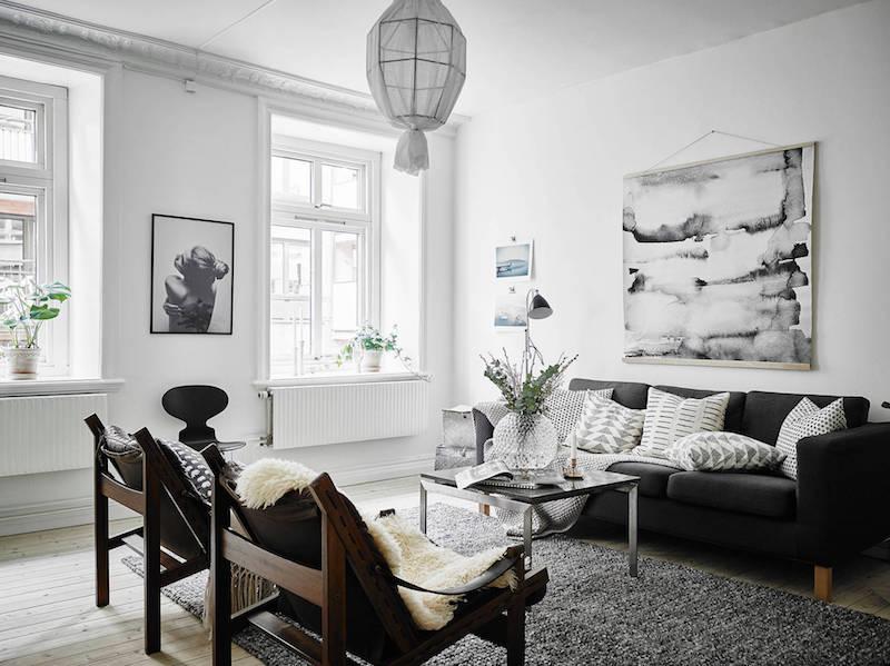 moderni-kaksio-mustavalkoinen-olohuone-sisustus