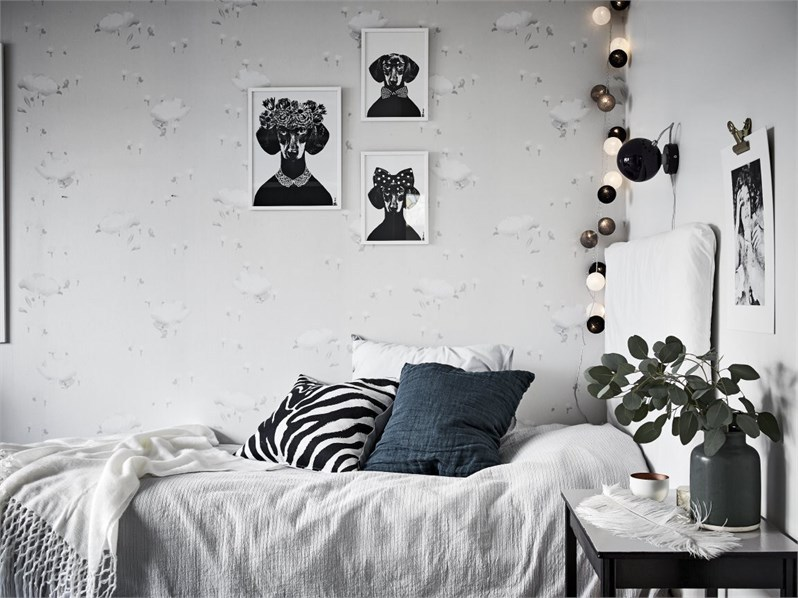 makuuhuone-mustavalkoinen-sisustus