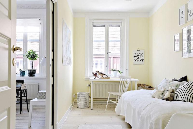 raikas-sisustus-makuuhuone-keltainen