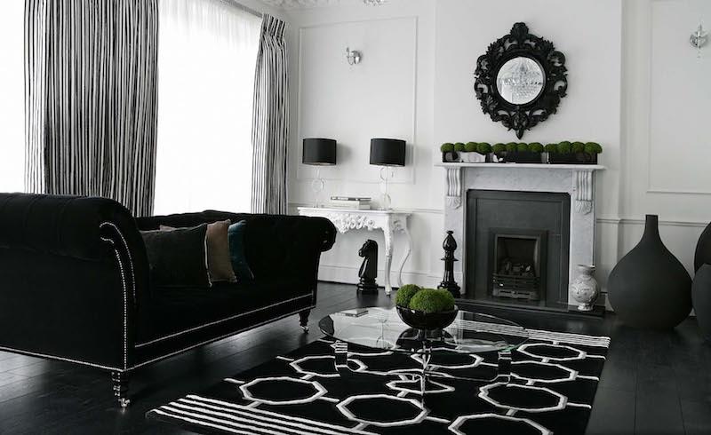 sisustus-koti-mustavalkoinen-tyyli-olohuone