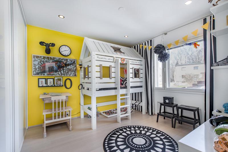 mustavalkoista-design-lastenhuone-keltainen