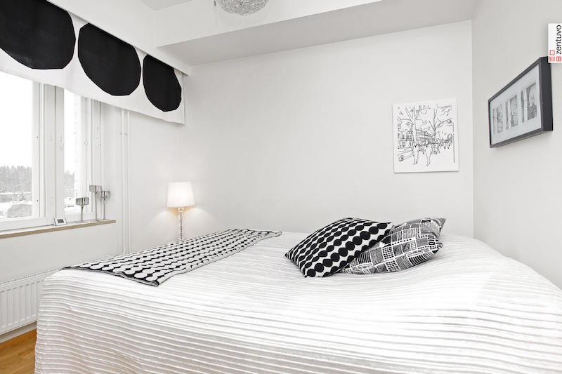sisustus-mustavalkoinen-tyyli-makuuhuone