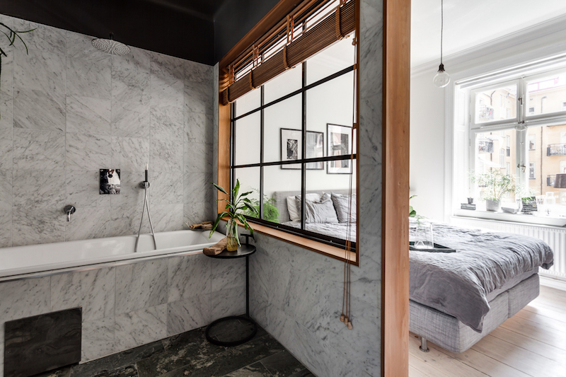 teollista-mustaa-sisustukseen-makuuhuone-kylpyhuone
