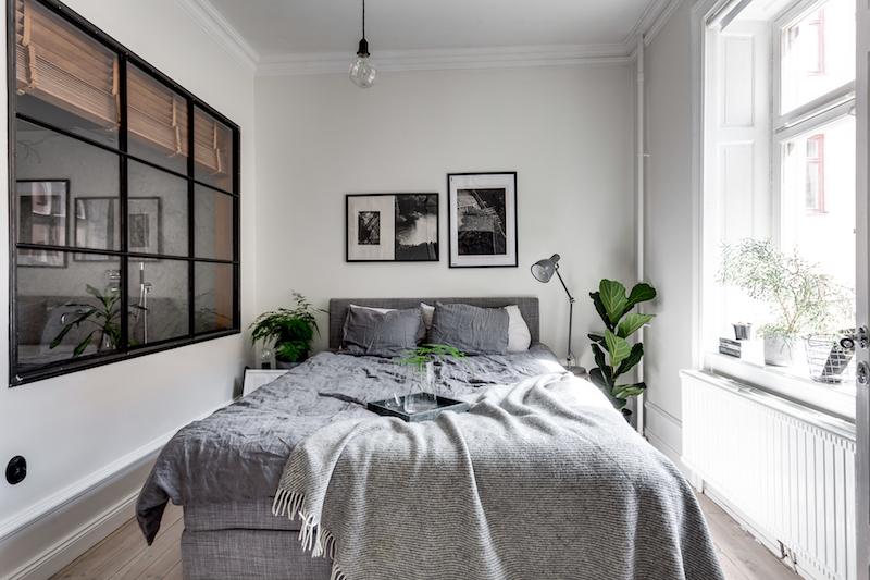 teollista-mustaa-sisustukseen-makuuhuone