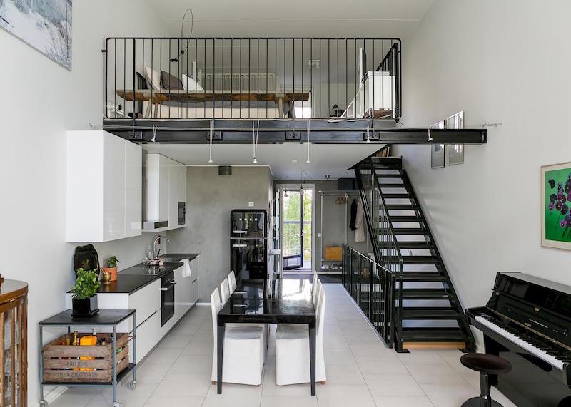 loft-huoneisto-mustavalkoinen
